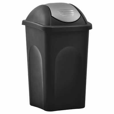 vidaXL Trash Bin with Swing Lid 60L Black and Silver Household Garbage Can