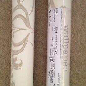 2 rolls of Next cream/gold damask wallpaper