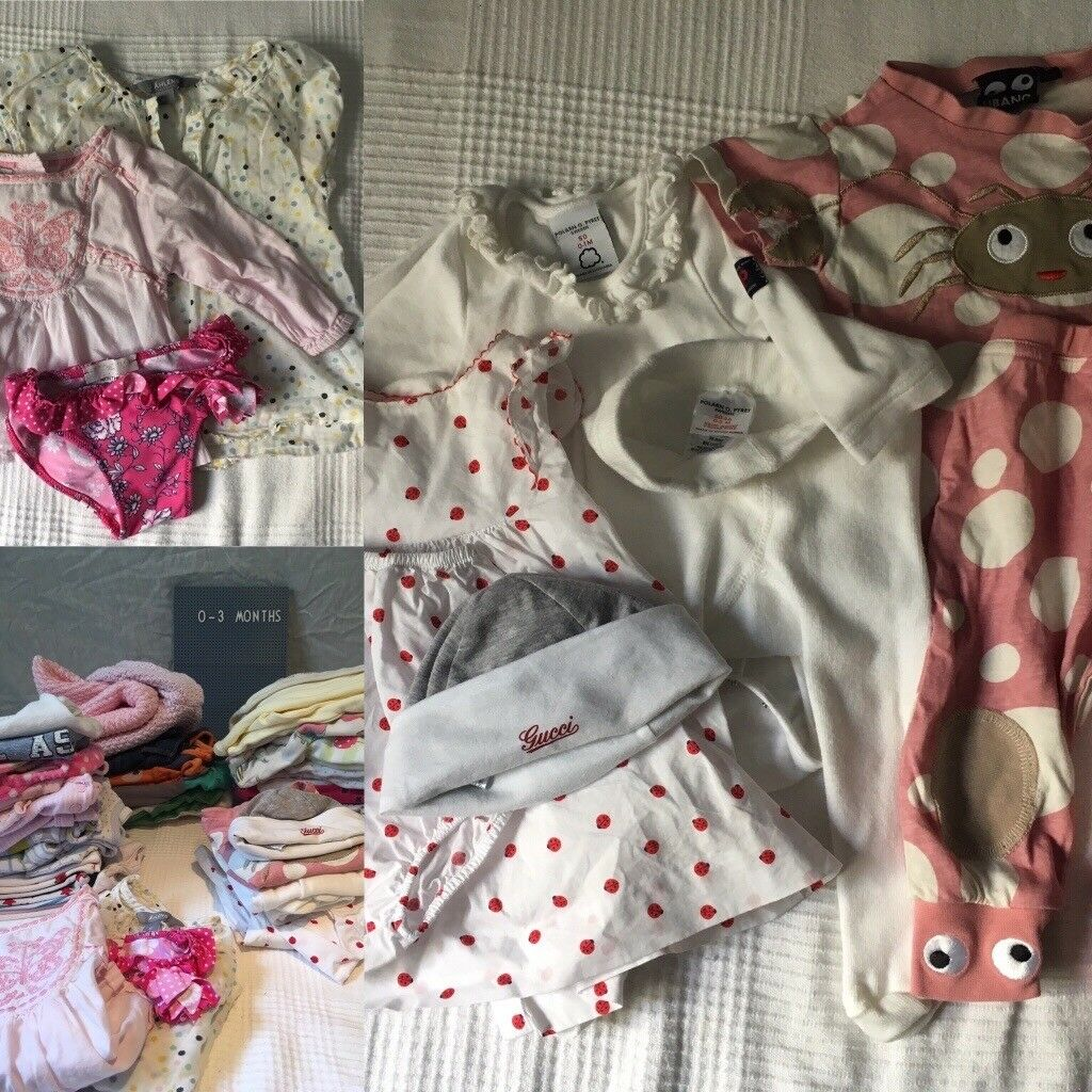 84 items incl. Gucci, Polarn & Pyret baby and sibling clothes: Unisex/ Girls; Newborn to 4Y