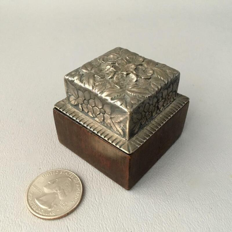 ANTIQUE VTG SILVER PLATED? EMBOSSED FLOWERS & WOOD STAMP BOX