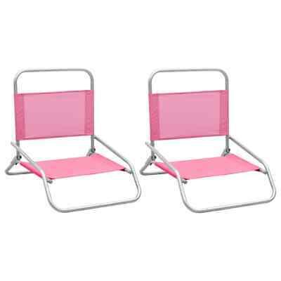 vidaXL 2x Sillas de Playa Plegables Tela Rosa Asiento Camping Piscina Jardín