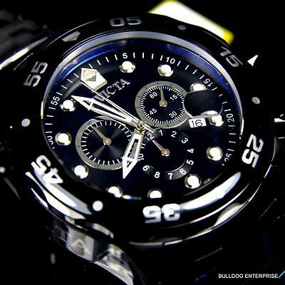 Mens Invicta Pro Diver Scuba Black Stainless Steel Chronograph 48mm Watch New