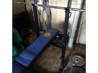 Bargain, Incline/flat weight bench plus weights equipment £45