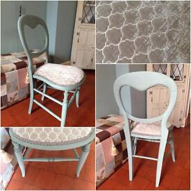 Pretty small duck egg blue painted occasional chair, grey velvet upholstery