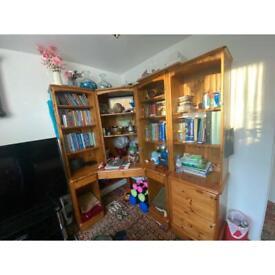Large solid wooden oak shelves unit