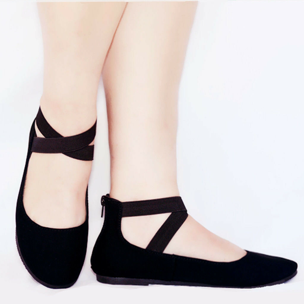 New Women Mary Jane Ankle Strap Ballet Flats Criss Cross Shoes Black,Taupe