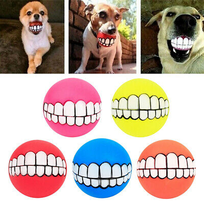 5pcs/set Cute  Pet Dogs Teeth Pattern Balls Dogs Training Toy Fun Throw Ball