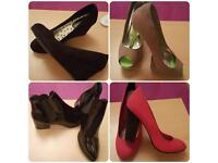 Variety of shoes, wedges and ankle boots