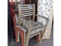 4x wooden garden chairs with arms
