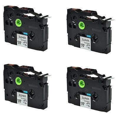 4pk Tze 231 Tz-231 Black On White Label Tape For Brother P-touch Pt310 Printer