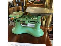 Vintage green kitchen weighing scales
