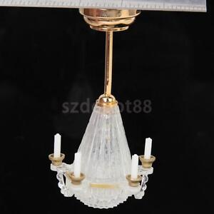 Dollhouse Miniature LED Chandelier Ceiling Lighting Lamp 5 Candle w/ Battery