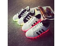 New Unisex Men Women USB Charging LED Light Colour Changing Flashing Shoes, White/Black/Silver/Gold