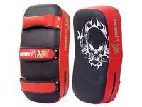 TurnerMAX Muay Thai Arm Pad Punch Strike Shield PAIR for MMA UFC Training (Black/Red)