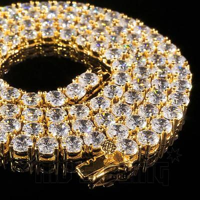 18k Gold 1 Row 5MM Lab Diamond Iced Out Chain Men's Hip Hop Tennis (18k Lab)
