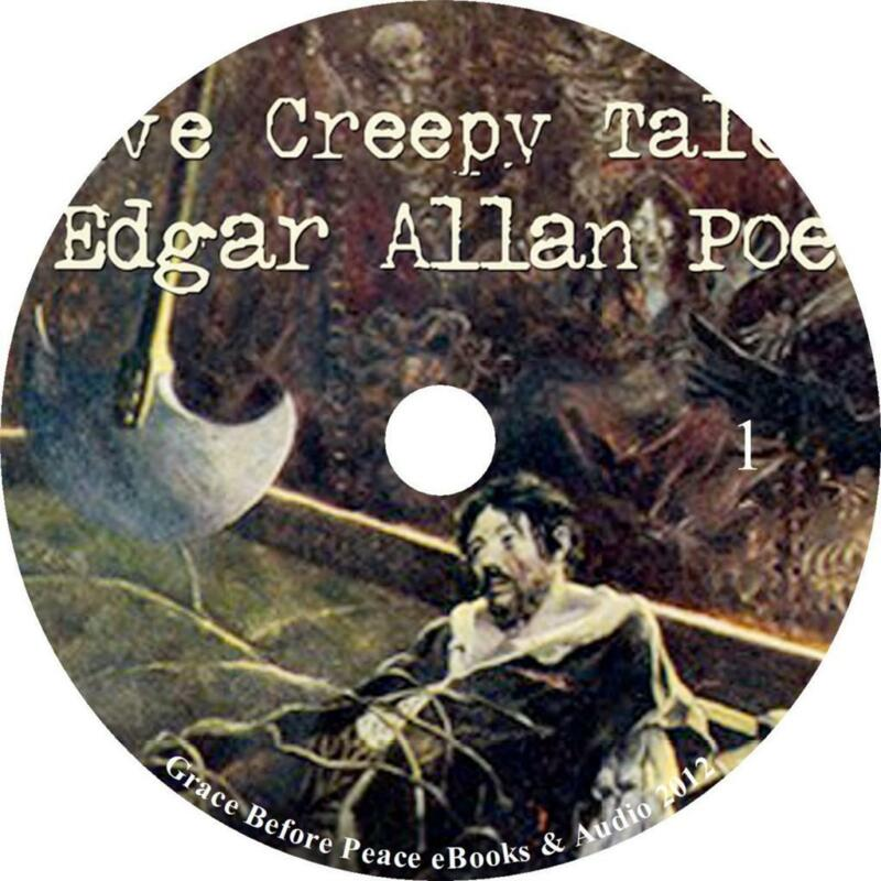 12 Creepy Tales, Edgar Allan Poe Suspense Audio book Collection on 5 Audio CDs