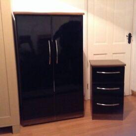 Wardrobe and bedside locker