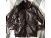 100% Genuine Brown Leather Jacket Size Small