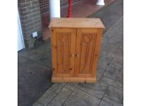 Free standing shelved pine cupboard