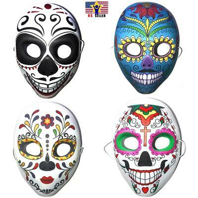 Halloween Day of The Dead Sugar Skull Mask Costume Dia de Los Muertos Accessory - Day Of The Dead Costume Mask
