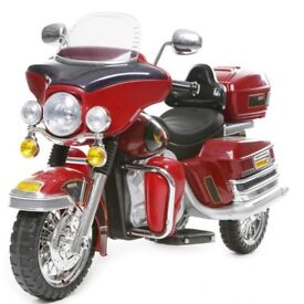Electric ride on Harley Davidson motorcycle (in red) 12 volt twin speed 'as new'