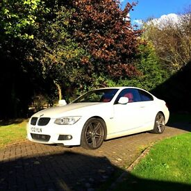 BMW 3 Series M Sport 320D 2.0L Coupe - Stunning white body & red leather interior