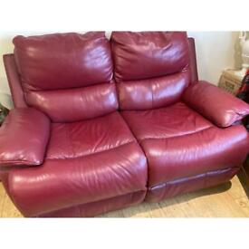 Red leather two seater recliner