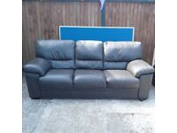 Real Black Leather 3 Seater Sofa and Armchair 2 Piece Suite