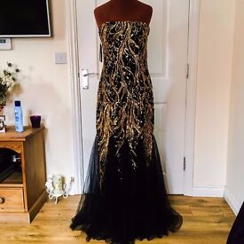 Stunning Dress, Ball or prom gown, Brand new with tags, black with gold design
