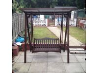 Hard wood swing seat with canopy