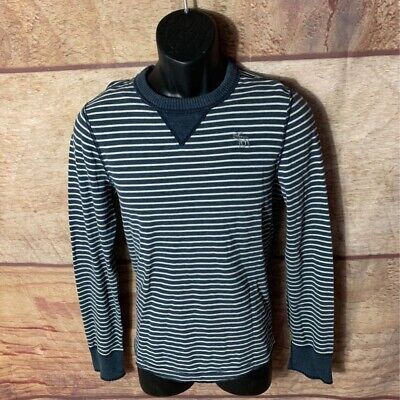 Abercrombie & Fitch Mens T-Shirt Blue White Stripe Long Sleeve Crew 100%Cotton S