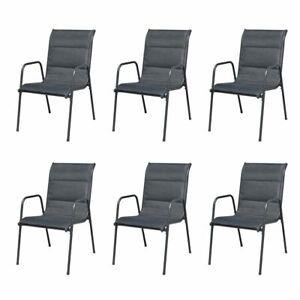 Vidaxl 6x Outdoor Dining Chairs Stackable Metal Black Garden Patio Dinner Seat