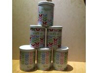 6x Robert Dyas porcelain airtight Sugar/Coffee/Tea Canisters, £5