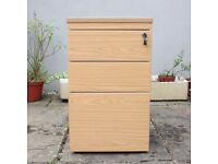 Light Wood Effect Lockable 3 Draw Filling Cabinet Storage Office Furniture