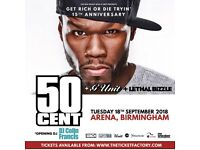 2 x 50 Cent Tickets 18th September @ Arena Birmingham