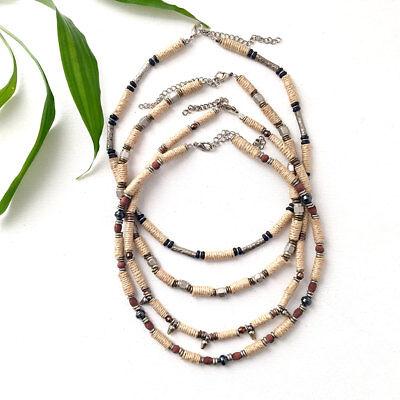 Boho Choker Necklace Unisex Festival Jewelry Beaded Hemp Wood Hematite