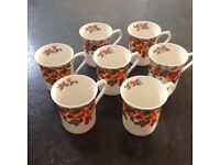 7 English Fine Bone China Mugs, Regal Heritage by Queens, Est 1875, Made in England.