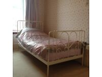 Ex-Next girls metal single bed including mattress from Glencraft