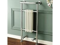 Traditional Victorian Bathroom Heated Towel Rail Radiator with Valves