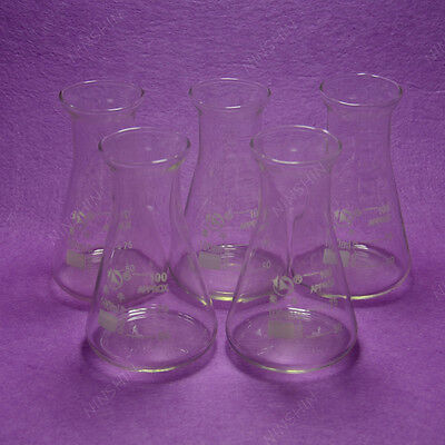 100ml Conical Flaskerlenmeyer Flaskwith Wide Mouth5pcslotlab Glassware