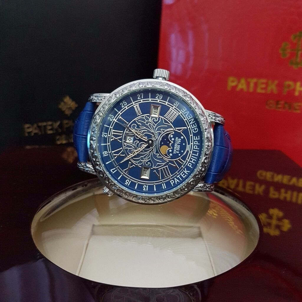 new mens boxed blue leather strap blue face patek philippe stars new mens boxed blue leather strap blue face patek philippe stars and moon double sided watch