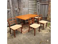 G Plan Drop Leaf Table + 4 G Plan Chairs