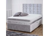 """❋❋ High Quality Sturdy Bed Base ❋❋ Double Or King Crushed Velvet Divan Bed 9"""" DEEP QUILTED Mattress"""