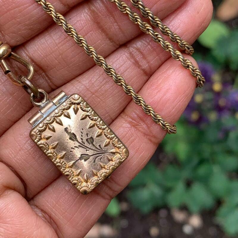 Antique Victorian Gold filled Twisted Rope Chain Locket Pendant necklace