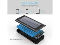Portable Charger Solar Power Bank 24000mAh External Battery with 3 Output Ports Android/Iphone/Ipad