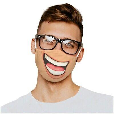 Mundschutz Lustige Maske Lachen lustiges Comic Motiv Lustig