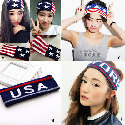 Men Women Sports Yoga Sweatband Gym Stretch Headband Hair Band Letter Star Print (Star Headband)