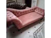 old vintage large chaise lounge on brass castors for re-upholstery can deliver