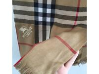 Burberry London scarf thick thin brown checked black