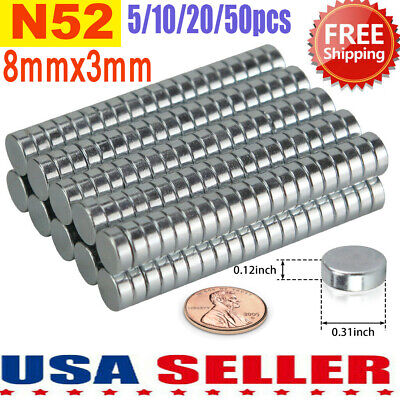 Lot 20 50 100 N52 Neodymium Disc Strong Rare Earth Small Fridge Magnet 8mm X 3mm